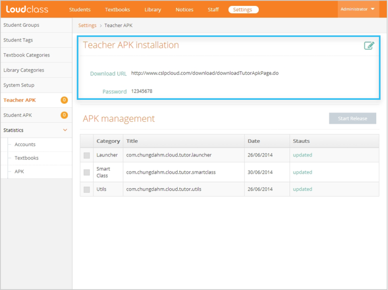 "APK installation password in ""Teacher APK"""