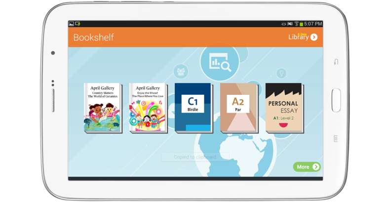 Bookshelf on teacher app