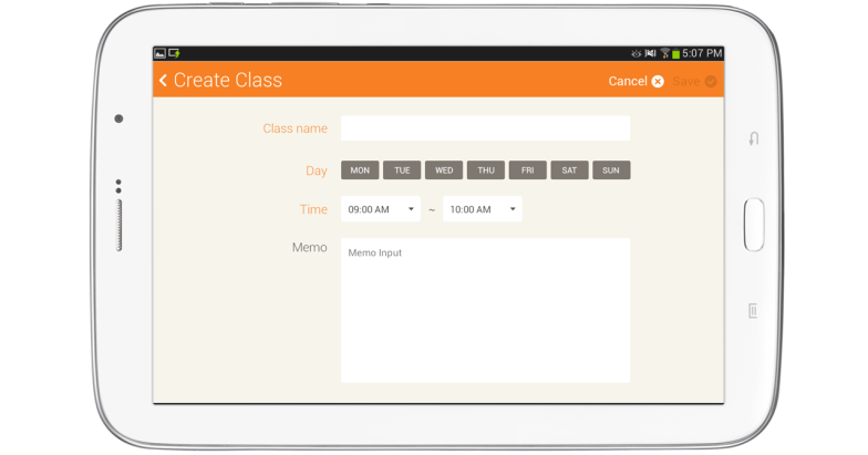 Create Class screen