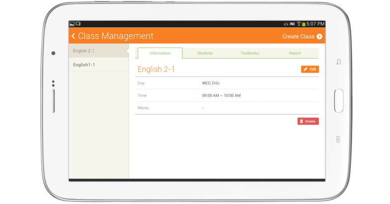 Class Management screen