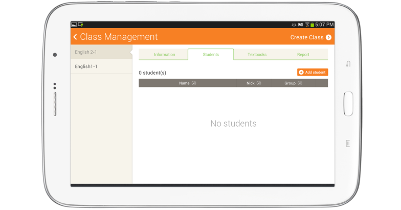 Student tab in Class management