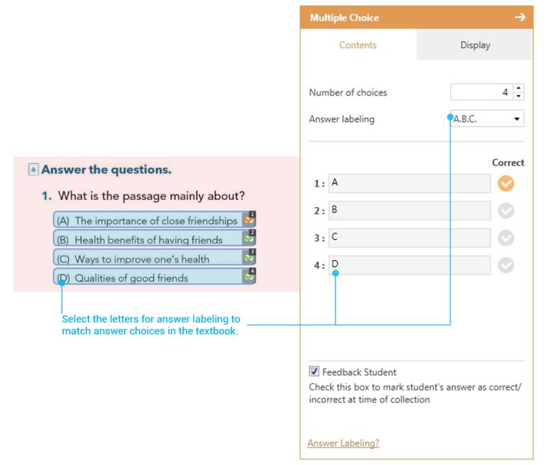 "Selecting ""A,B,C"" under ""properties"" window"